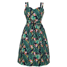 Empire Pin Australia - Women Lychee Tropical Leaf Vintage Dress Double Strap Palm Retro Pencil Dress with Pocket Belt Pin up Button Casual Party