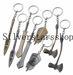 gold axe 2020 - Quake Hammer Storm Axe Keychain Avengers 3 Infinite War Superhero Movie Surroundings