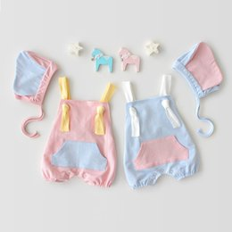 $enCountryForm.capitalKeyWord Australia - Everweekend Newborn Baby Kids Cartoon Elephant Rompers with Ear Hats Candy Color Halter Summer Cotton Toddler Kids Clothing
