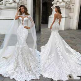 Plunge Wedding Dresses UK - White Lace Gorgeous Mermaid Wedding Dresses with Watteau Plunging Neck Bohemian Wedding Gown Appliqued Plus Size Bridal Vestidos De Novia