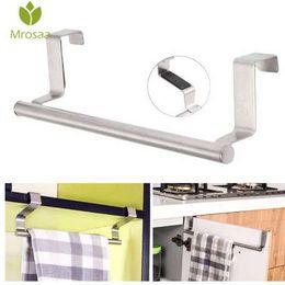 Hotel Towel Bars NZ - Mrosaa 23cm Towel Bar Bathroom Kitchen Towel Rack Single Layer Over Door Cupboard Hanger Hotel Bath Stainless Steel Towel Holder