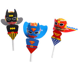 Discount cartoon lollipops - 18pcs Superhero Cartoon Candy Lollipop Decoration Cards For Kids Birthday Party Supplies Candy Gift Accessories