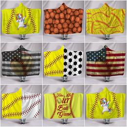 Children Towel Blanket Australia - Hooded Blanket Soft Warm Children Towel Blanket with Hood Yellow Baseball Football Sherpa Fleece Wrap Blanket for Kids 130cm*150cm
