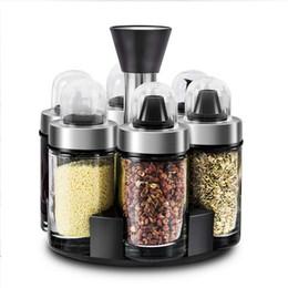 $enCountryForm.capitalKeyWord NZ - 6pcs Kitchen Seasoning Organizer Rotating Salt Box Condiment Set Holder Spice Jar Storage Rack Containers Spice Rack Bottles