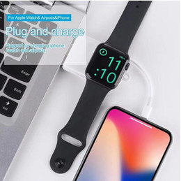 Wholesale 2 in Wireless Charger for Apple Watch iWatch Series USB Protable Magnetic Charging Cable Pin Charger Cable for i5 i6 i7 i8 X
