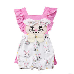73a234ae0e46 Easter Baby girls rabbit print Rompers cartoon infant bunny Jumpsuits 2019  summer fashion Boutique kids Climbing clothes