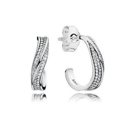 Wave earrings online shopping - 925 Sterling Silver CZ Diamond earrings Original Box for Pandora Elegant Waves Ear hook Earrings for Women Girls Gift Jewelry EARRING