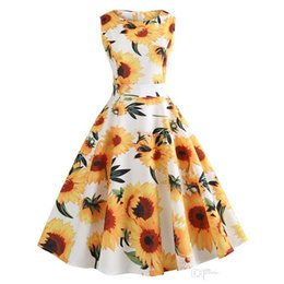 Discount l swing - Vintage Women Swing Casual Dresses Retro Hepbern Audrey Styles 1950s Casual Party Gowns Rockabilly Sleeveless Vestidos F