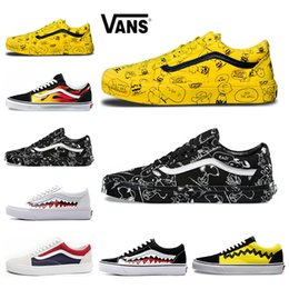 1e4cb57963660a Hot Vans Old Skool Men Women Casual Shoes Rock Flame Yacht Club Sharktooth  Peanuts Skateboard Black White Canvas Skate Sneaker 36-44