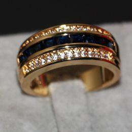 Sapphire Wedding Band Gold Australia - 2019 New Arrival Fashion Jewelry Handmade 10KT Yellow Gold Filled Princess Cut Blue Sapphire Party CZ Diamond Men Wedding Band Finger Ring