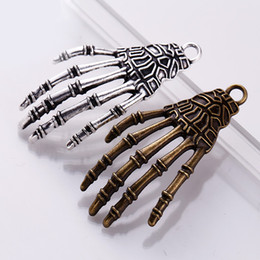 silver skeleton hand bracelet NZ - 60pcs bag Ancient Silver Bronze 20*42mm Skeleton Ghost Hand Charms Pendants Designer Jewelry Fit Making Necklace Bracelet Accessories Gift