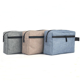 Gray Cosmetic Bag Australia - Waterproof oxford travel toiletry bag cosmetics pouch makeup brushes storage bag with tote blue gray khaki
