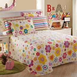 quality textiles Australia - Flat Sheets Without case Flowers Printing Bedcover Home Textile Cotton Bedclothes Bed Sheet for Kids Adults Bedding Covers