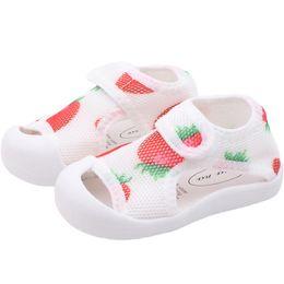 Infant Girls Sandals UK - Summer Fruit Children's Casual Shoes Pure Color Soft Sole Infant Walking Shoes Mesh Baby Sandals Baby Girl Sandals