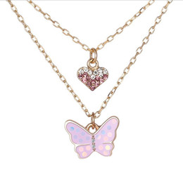 candy drip UK - kid's Necklace Jewelry candy cartoon butterfly love multi layer alloy oil dripping Necklace the best gift for kids