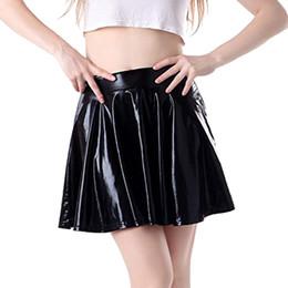 ea15da8e15 mini skirt Womens Fashion Leather Flared Pleated A-Line Circle Costume Skater  Dance Skirt faldas d90524