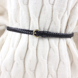 brown leather belts for women NZ - new women leather knitted braided belt waist weaving rop retro pin buckle strap for dresses casual black brown white