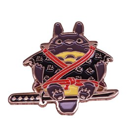cute gifts for friends UK - Totoro samurai pin cute ghibli anime movie badge creative gifts for kids friends