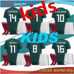336a0acc06c 2018 World Cup Mexico soccer jersey kid home green best quality 18 19  CHICHARITO G.DOS SANTOS Mexico soccer Jersey full kit with socks