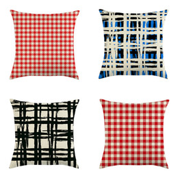 18x18 pillow cushion covers online shopping - Classic Plaid Pillow Cover x18 Inch Linen Pillow Case Red Blue Lattice Throw Pillow Cushion Cover Home Christmas Decoration DBC VT1029