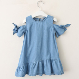 Denim Style For Babies Australia - Summer Baby Girls Dress Casual Bow Lace Irregular Hem Strapless Denim Princess Dress Baby Girl Clothes Kids Dress For Girls Infant Product