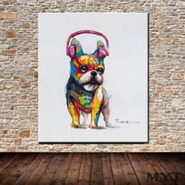 $enCountryForm.capitalKeyWord Australia - Cheap pictures HD printed animal dog listening music Wall art Picture Home Decor for Living Room on Canvas Printing Oil Painting no framed