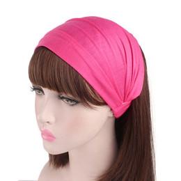 $enCountryForm.capitalKeyWord Australia - Wholesale new autumn red rose diamante Solid color Turban Head Wraps Hijab Head Scarf bandanas for women