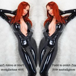 $enCountryForm.capitalKeyWord Australia - Clubwear Black Patent Leather Bodysuit + Gloves Sexy Woman Latex Catsuit Fetish Gothic PVC Bodysuit Erotic Seductive Lingerie