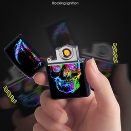 Alloy Piping Australia - Colorful Rocking Ignition USB Zinc Alloy Cyclic Charging Lighter Skull Multiple Patterns Pretty For Cigarette Bong Smoking Pipe Tool