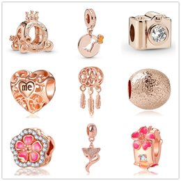 $enCountryForm.capitalKeyWord Australia - free shipping wholesale MOQ 20pcs rose gold european mixed dinosaur flower diy bead fit pandora charms bracelet for women men jewelry D057