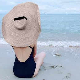 straw sun hat brown Australia - Fashion Large Summer Wide Brim Sun Hat Beach Anti-UV Sun Protection Foldable Cap Cover Lady Oversized Sunshade Beach Straw Hat