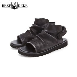 Open Toe Genuine Leather Sandals Australia - British Sandals Men Genuine Leather Summer Shoes Open Toe Luxury Gladiator Sandals Outdoor Non-Slip Beach Flip Flops Sandalias