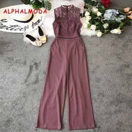$enCountryForm.capitalKeyWord Australia - Alphalmoda Euro-american Style Hollow Lace Stitching Sleeveless High Waist Wide-legs Pants Women Vogue Fashion Rompers MX190806