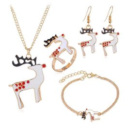 Discount indian finger bracelets Vintage Retro Fashion Accessories Jewelry Sets Wapiti Dangle Earrings Christmas Elk Pendant Necklaces Charm Bracelets Fi
