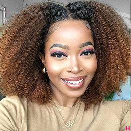 dark brown lace closure color Canada - Ombre Highlight Wig Brown Honey Blonde Colored HD afro kinky curly Lace Front Human Hair Wigs 1b 27 brazilian hair closure wigs 150%density