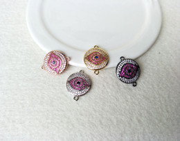 bail necklace connectors UK - 10Pc Turkish Style Evil Eye Double Bails Connector,CZ zircon Micro pave crystal Charm,DIY Bracelet necklace Jewelry making CT129