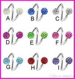 Full Crystal Ball Titanium Steel Earrings Ear Bone Ear Stud Nails Twist S  rod Shape Piercing For Women Fashion Jewelry fpsp009 51827fa6f8d5