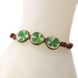 Discount clover bracelets wholesale - Handmade Fashion Clover Bracelet Glass Ball Bohemian Sweet Wax Rope Bracelet Weave Women's Jewelry Gift