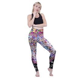 Discount fashion lady sports wear - Women High Waist Leggings Glitter 3D Graphic Full Printed Sports Yoga Wear Pants Lady Sportwear Pencil Fit Girl Stretchy