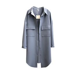 overcoat spring for women 2019 - 2019 Spring Thin Asymmetric Length Korean Long Trench Coat For Women Classic Vintage Loose Cotton Windbreaker Female Ove