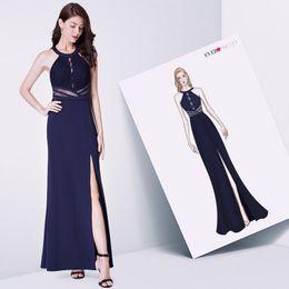 4f6584687e Navy Blue Evening Prom Dress Ever Pretty Ep07390nb Vestidos De Fiesta  Elegant A Line Off Shoulder Cut-out Formal Gowns With Slit Y19042701