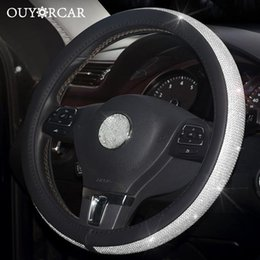crystal rhinestone wheels UK - nterior Accessories Car Leather Steering Wheel Covers Crystal Rhinestone Auto Steering Wheel Covers Protectors Interior Accessories For...