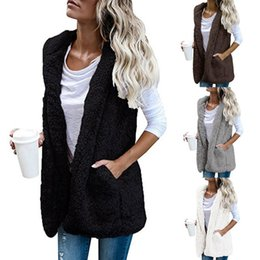 womens hooded winter vest 2019 - Womens Warm Vests Open Stitch Fleece Jackets Winter Hooded Waistcoats Ladies Casual Sleeveless Faux Fur Coats Outwears D
