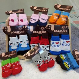 multi color socks Australia - Pet Dog Socks winter warm Cute Puppy Dogs Soft Cotton Anti-slip Knit Weave Sock Skid Bottom Sock Dog Apparel Mix Color