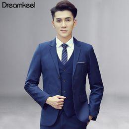 Boutique Dresses Suits Australia - Men's Fashion Boutique Plaid Wedding Dress Suit Three-piece Male Formal Business Casual Suits Jacket + Vest + Pants 2019 New Y