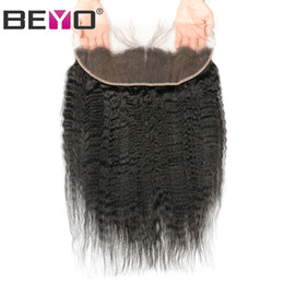 Brazilian lace closure 13x4 online shopping - Beyo Kinky Straight Frontal X4 Ear To Ear Lace Frontals With Baby Hair Human Hair Closure Brazilian Hair Free Three Middle Part Remy