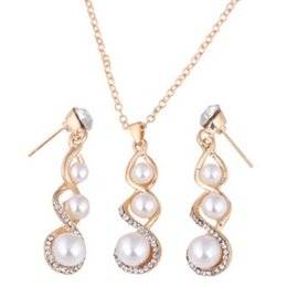 c80aba6d60f0 Vogue Jewelry China UK - PEARL ZIRCON WEDDING BANQUET EARRING NECKLACE 2IN1 JEWELRY  SET VOGUE WEDDING