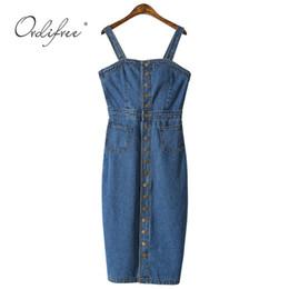 00d3811d Ordifree 2019 Summer Autumn Women Denim Sundress Sarafan Overalls Vintage  Blue Sexy Bodycon Female Jeans Dress Q190417
