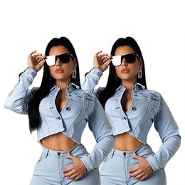 Wholesale plus cropped denim jacket resale online – Women denim Jacket plus size stylish crop top fall summer clothes outerwear Cardigan long sleeve sexy club elegant lapel neck hot sell