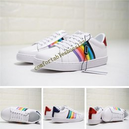 123564442ef Rainbow canvas fabRic online shopping - New Original box packaging ItalyTop  Luxury Ace Embroidered Low Top